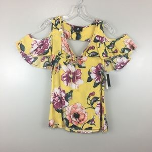 IZ Bayer Yellow Floral Print Cold Shoulder Blouse